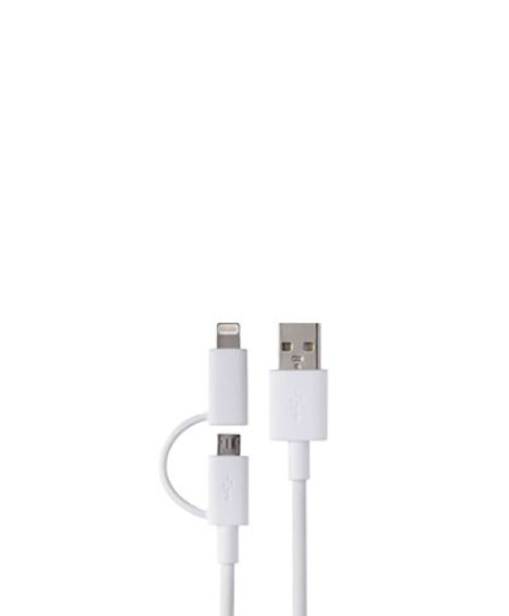 Câble usb lightning & micro – 2 en 1 blanc
